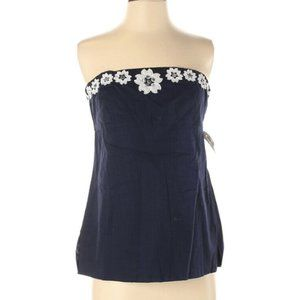 J Crew Navy Blue Strapless Summer Top Blouse Cotto